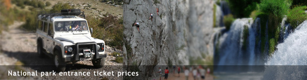 National park entrance ticket prices